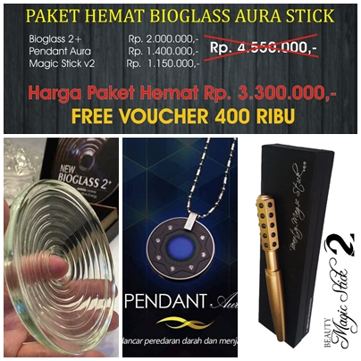 harga paket bioglass pendant aura magic stick
